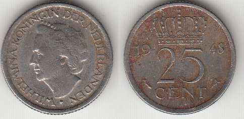 COIN NETHERLAND 25 CENT 1948