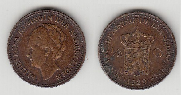 COIN NETHERLANDS 1/2 GULDEN 1926 WILLHELMINA