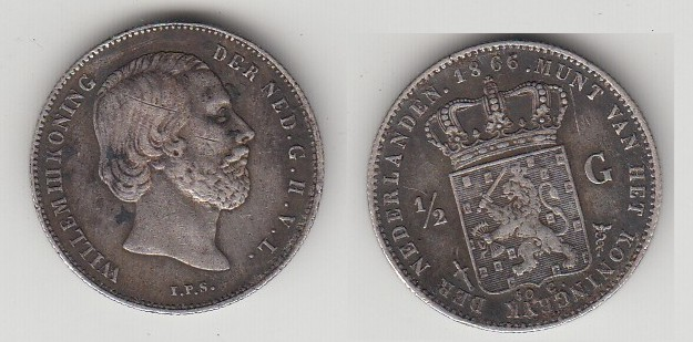 COIN NETHERLANDS 1/2 GULDEN 1866 WILLIAM III.EXTRA FINE