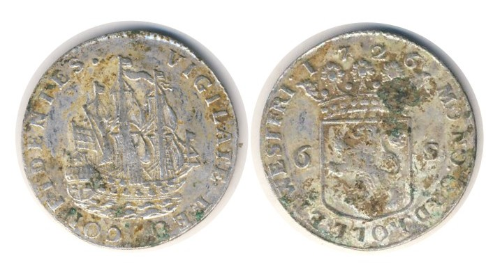 COIN SILVER NETHERLAND 6 STUVER 1726