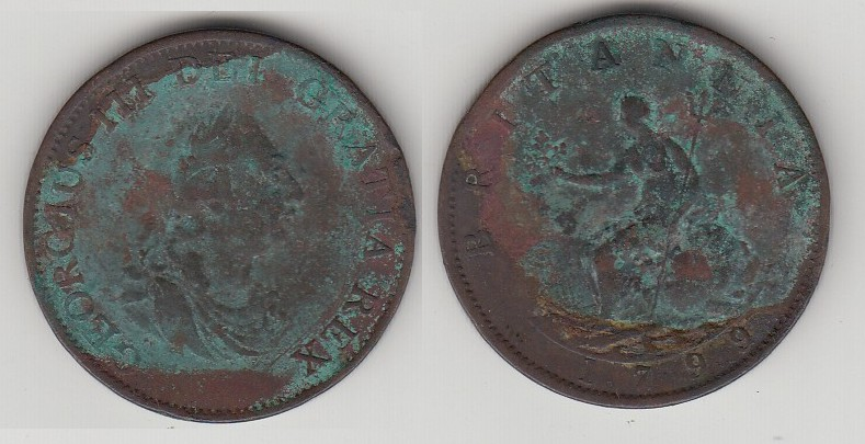 COIN BRITANIA KINGDOM 1/2 PENNY 1799